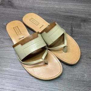 HUNTER | sz 7 Tan Flip Flop Leather Slip On Sandal